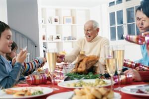 Family Eating Christmas Dinner Together